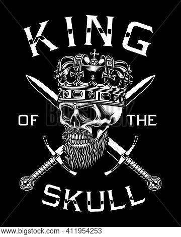 Bearded Skull King With Crossed Swords Vector Illustration