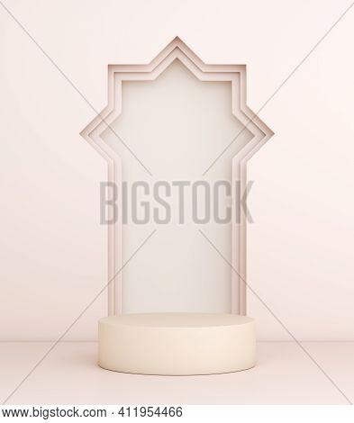 Islamic Podium Display Decoration Background, Ramadan Kareem, Mawlid, Iftar, Isra Miraj, Eid Al Fitr
