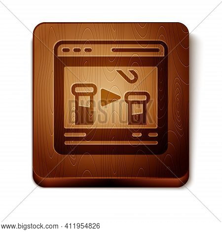 Brown Chemical Experiment Online Icon Isolated On White Background. Scientific Experiment In The Lab