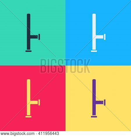 Pop Art Police Rubber Baton Icon Isolated On Color Background. Rubber Truncheon. Police Bat. Police