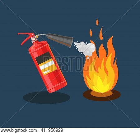 The Fire Extinguisher Extinguishes Fire With Foam. Fire Extinguishing. Flat Vector Illustration