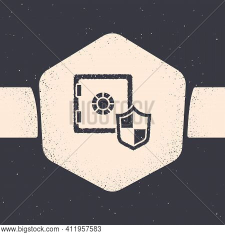 Grunge Safe With Shield Icon Isolated On Grey Background. Insurance Concept. Security, Safety, Prote
