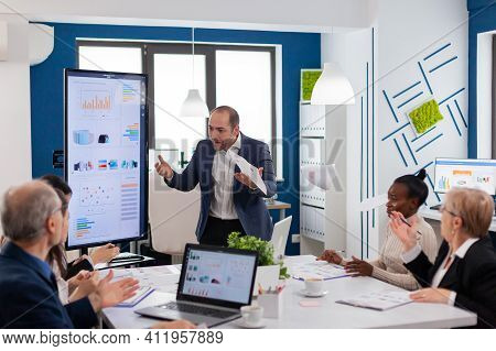Angry Mad Boss Shouting Having Conflict With Multiethnic Employee For Business Problem Failure Bad W