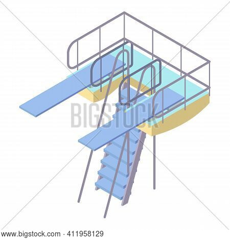 Double Diving Board Icon. Isometric Of Double Diving Board Vector Icon For Web Design Isolated On Wh