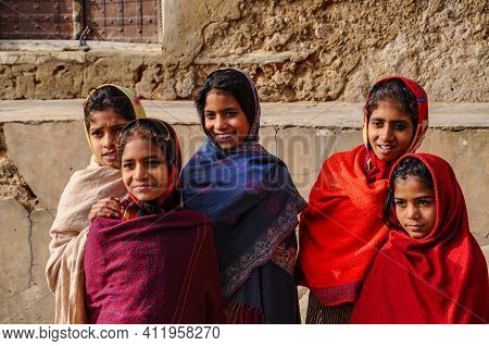 Mandawa, India - Dec 29, 2019: Unidentified Indian Women With Her Colorful Scarf. Scarf Made Of Indi