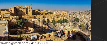 Jaisalmer, India - Dec 31, 2019: The Fort In The Golden City Jaisalmer In Rajasthan, India. It Stand