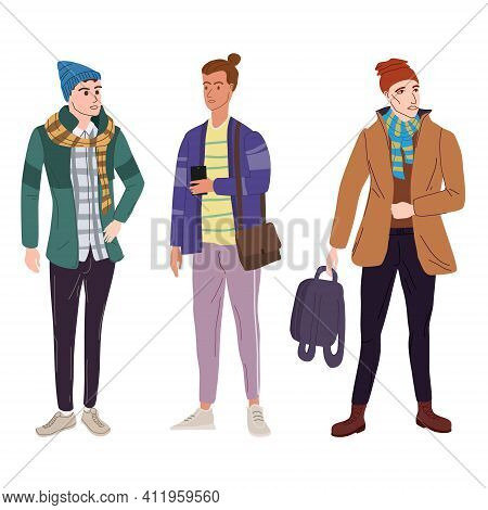 Set Young Mans Students In Modern Spring Trendy Clothes. Fashion Casual Outerwear Street Style Chara