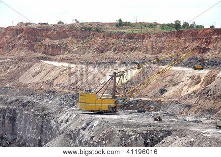 Heavy dragline excavator in a opencast coal mine