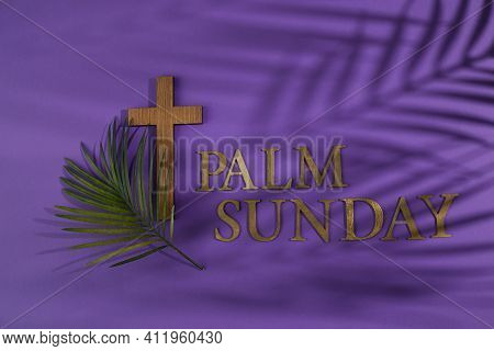 Palm Sunday Background. Cross And Palm On Purple Background.