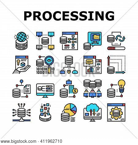 Digital Processing Collection Icons Set Vector. File Compression And Visualization, Download And Upl