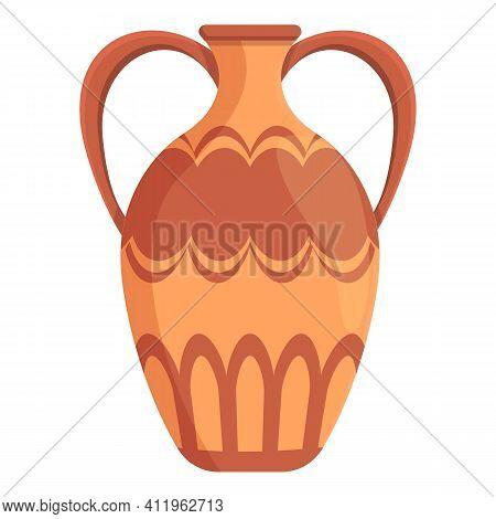 Amphora Crockery Icon. Cartoon Of Amphora Crockery Vector Icon For Web Design Isolated On White Back