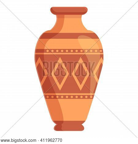 Amphora Crusted Icon. Cartoon Of Amphora Crusted Vector Icon For Web Design Isolated On White Backgr