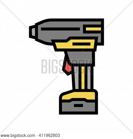 Drill With Air Compressor Color Icon Vector. Drill With Air Compressor Sign. Isolated Symbol Illustr