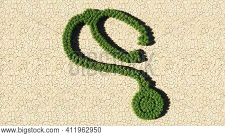 Concept or conceptual group of green forest tree on dry ground background, sign of checkup stethoscope. A 3d illustration metaphor for a checkup, treatment, medicine, health and care