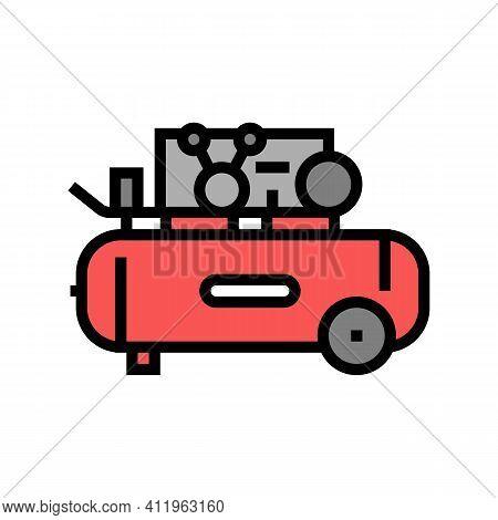 Piston Air Compressor Color Icon Vector. Piston Air Compressor Sign. Isolated Symbol Illustration