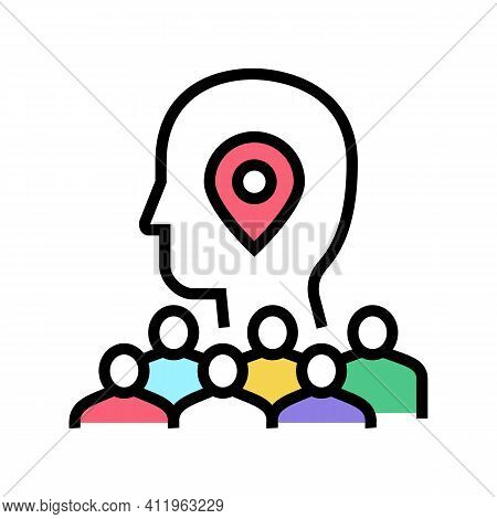 Searching Potential Client Crowdsoursing Service Color Icon Vector. Searching Potential Client Crowd