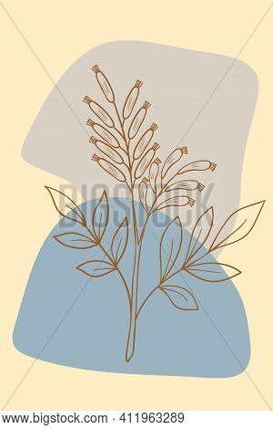 Abstract Posters With Bitter Herbs Bitter-wood. Abstract Geometric Elements And Flowers, Leaves And