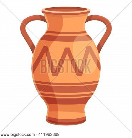 Amphora Ornate Icon. Cartoon Of Amphora Ornate Vector Icon For Web Design Isolated On White Backgrou