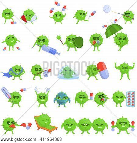 Antibiotic Resistance Icons Set. Cartoon Set Of Antibiotic Resistance Vector Icons For Web Design