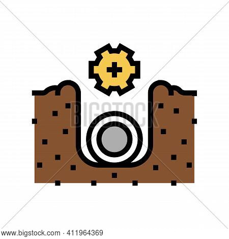 Plumbing Of Drainage System Color Icon Vector. Plumbing Of Drainage System Sign. Isolated Symbol Ill
