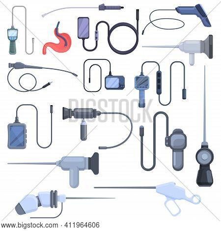 Endoscope Icons Set. Cartoon Set Of Endoscope Vector Icons For Web Design