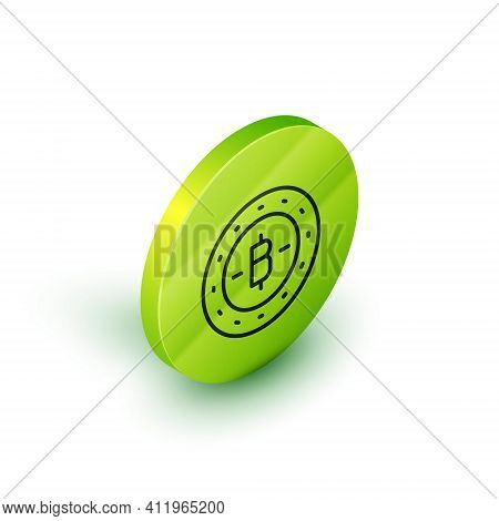 Isometric Line Cryptocurrency Coin Bitcoin Icon Isolated On White Background. Physical Bit Coin. Blo