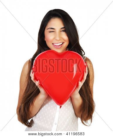 Image of cute brunette girl holding red balloon heart-shape in hands, portrait of happy woman isolated on white background, Valentine day, romantic gift, health care, medical treatment, love concept