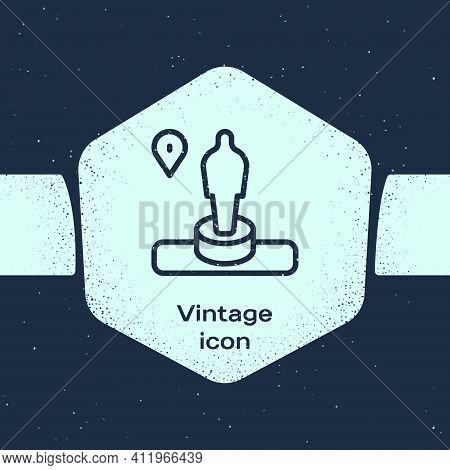 Grunge Line Map Pin And Monument Icon Isolated On Blue Background. Navigation, Pointer, Location, Ma