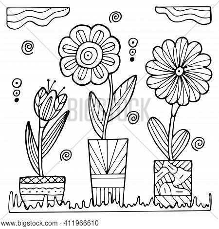 Hand Drawn Potted Flowers On A White Isolated Background. Coloring Book For Children And Adults. Sim