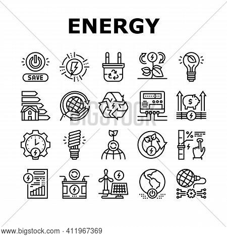 Energy Saving Tool Collection Icons Set Vector. Solar Panel And Electric Meter Energy Saving Equipme
