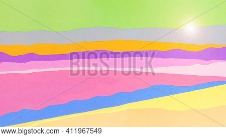A Beautiful Backdrop Of Multi-colored Wavy Lines In Pastel Colors Mimic The Natural Hilly Landscape.