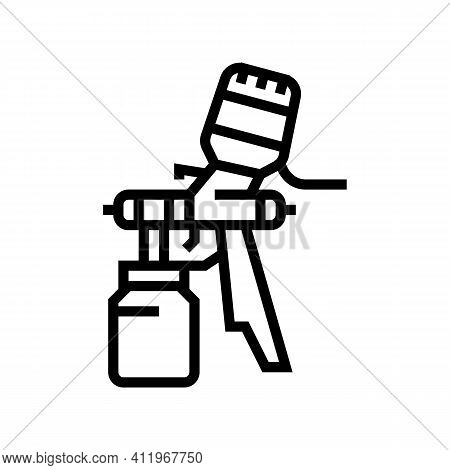 Paint Tool From Air Compressor Line Icon Vector. Paint Tool From Air Compressor Sign. Isolated Conto