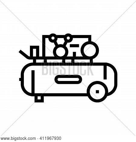 Piston Air Compressor Line Icon Vector. Piston Air Compressor Sign. Isolated Contour Symbol Black Il