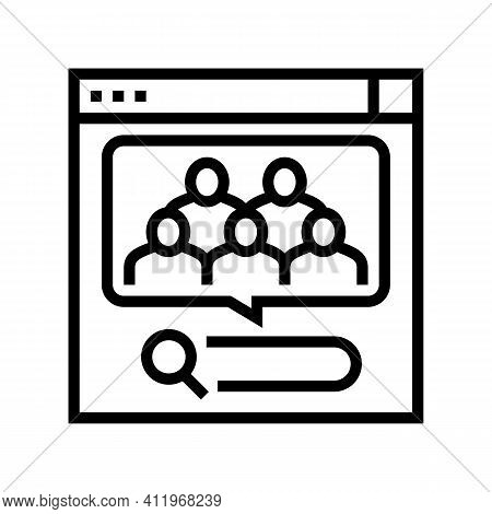 Analytics Of People Requests In Internet Line Icon Vector. Analytics Of People Requests In Internet