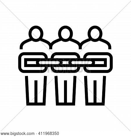 People Chain Crowdsoursing Line Icon Vector. People Chain Crowdsoursing Sign. Isolated Contour Symbo