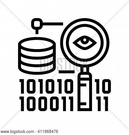 Analysis Binary Digital Processing Line Icon Vector. Analysis Binary Digital Processing Sign. Isolat