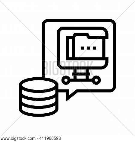 File Compression Digital Processing Line Icon Vector. File Compression Digital Processing Sign. Isol