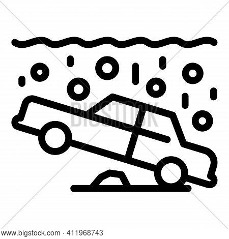 Car Accident Underwater Icon. Outline Car Accident Underwater Vector Icon For Web Design Isolated On