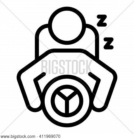 Careless Driver Sleep Icon. Outline Careless Driver Sleep Vector Icon For Web Design Isolated On Whi