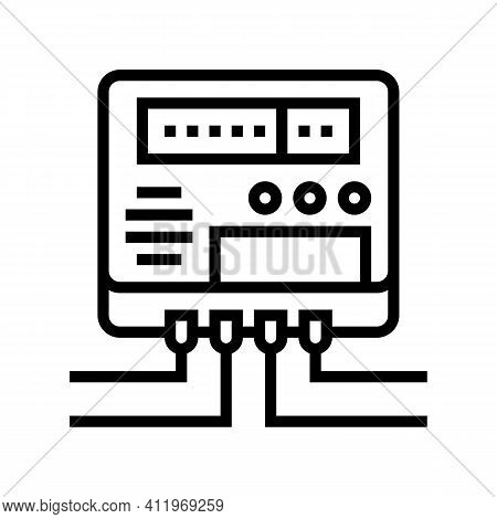 Electric Meter For Monitoring Energy Saving Line Icon Vector. Electric Meter For Monitoring Energy S