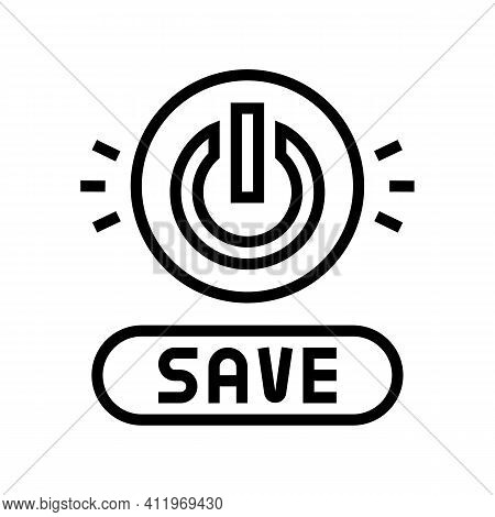 Power On Off Button Energy Saving Line Icon Vector. Power On Off Button Energy Saving Sign. Isolated