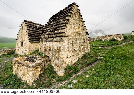 Ancient Alanian Necropolis (city Of Dead)  In Dargavs Village, North Ossetia Alania, Russia