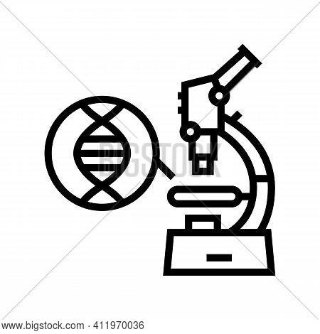 Microscope For Research Genetic Molecule Line Icon Vector. Microscope For Research Genetic Molecule