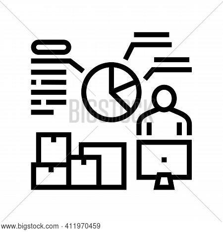 Analytics Shipment Logistics Line Icon Vector. Analytics Shipment Logistics Sign. Isolated Contour S