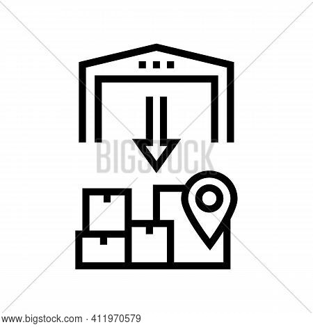 Upload From Storehouse Line Icon Vector. Upload From Storehouse Sign. Isolated Contour Symbol Black