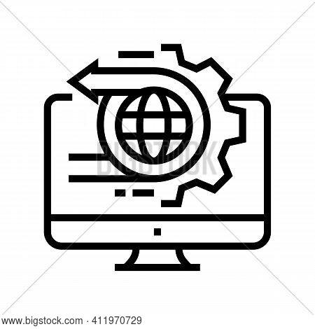 International Logistics Service Line Icon Vector. International Logistics Service Sign. Isolated Con