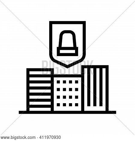 City Urban Protect Line Icon Vector. City Urban Protect Sign. Isolated Contour Symbol Black Illustra