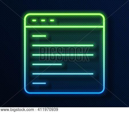 Glowing Neon Line Computer Api Interface Icon Isolated On Blue Background. Application Programming I
