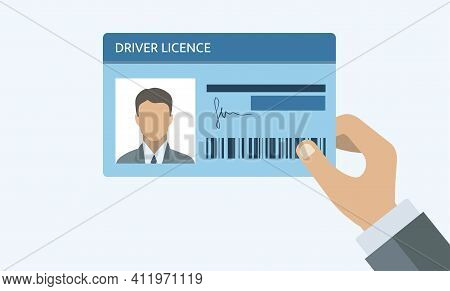 Hand Holding Driver License. Id Card. Identification Card Icon. Man And Woman Driver License Card Te
