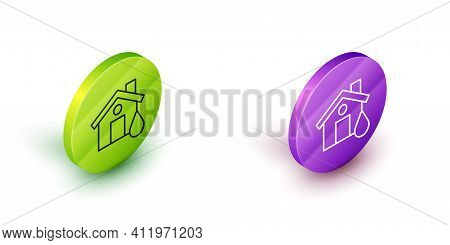 Isometric Line House Flood Icon Isolated On White Background. Home Flooding Under Water. Insurance C